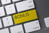 Yellow Bonus Button on Keyboard. 3D Rendering.