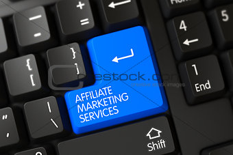 Blue Affiliate Marketing Services Keypad on Keyboard. 3D Illustration.