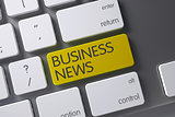 Yellow Business News Button on Keyboard. 3D Render.