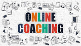 Online Coaching Concept. Multicolor on White Brickwall.