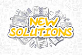 New Solutions - Doodle Yellow Inscription. Business Concept.
