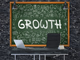 Growth - Hand Drawn on Green Chalkboard. 3D.