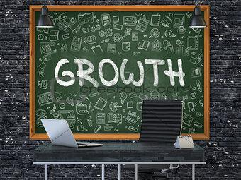 Growth - Hand Drawn on Green Chalkboard. 3D.