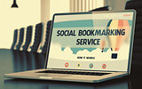 Social Bookmarking Service on Laptop in Conference Room. 3D Illustration.