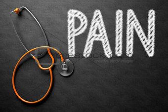Pain Concept on Chalkboard. 3D Illustration.