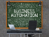 Hand Drawn Business Automation on Office Chalkboard.