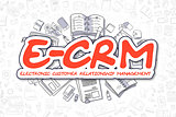 E-CRM - Cartoon Red Word. Business Concept.