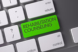 Keyboard with Green Key - Rehabilitation Counseling. 3D Rendering.