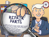 Repair Parts through Magnifying Glass. Doodle Concept.