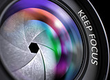 Keep Focus Concept on Professional Photo Lens. 3D Illustration.