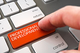 Hand Touching Professional Development Key. 3D Illustration.