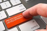 Hand Touching Professional Development Key. 3D Illustration.