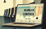 Human Control on Laptop in Meeting Room. 3D Illustration.