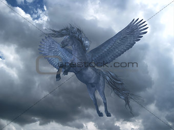 Black Pegasus in Blue Sky