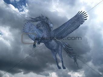 Black Pegasus in Blue Sky