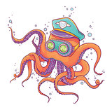 Octopus Wearing Captain Hat and Goggles