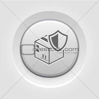 Cargo Protection Icon. Grey Button Design.