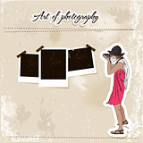 Scrap template with fashion photographer girl.