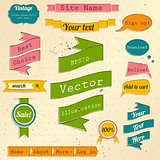 Vintage website design elements set.