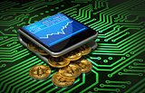 Concept Of Digital Wallet And Bitcoins On Green Printed Circuit Board