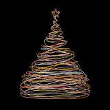 Christmas Tree Made Of Gold, White, Grey And Pink Wire On Black Background
