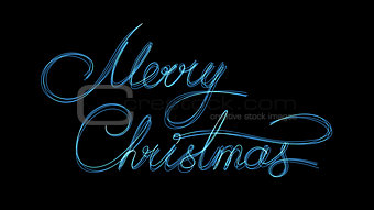 Blue Neon Text Marry Christmas On Black Background