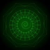 Geometry neon hexagon in green
