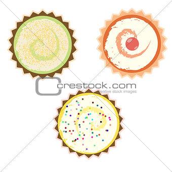 Cakes over white background.