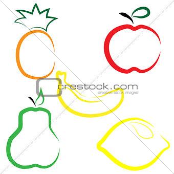 Flat vector set of fruits