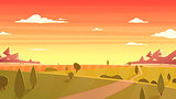 Sunset landscape Cartoon vector illustration