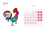Rooster calendar 2017 for your design. June month.
