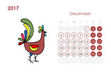 Rooster calendar 2017 for your design. December month.