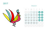 Rooster calendar 2017 for your design. March month.