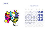 Rooster calendar 2017 for your design. November month.