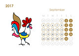 Rooster calendar 2017 for your design. September month.