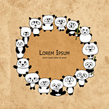 Funny panda family, frame for your design