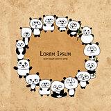 Funny panda family, frame for your design