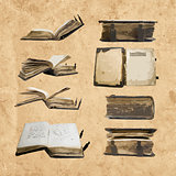 Logo set with medieval old books for your design