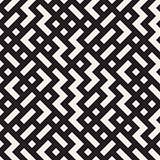 Vector Seamless Black and White Random Zigzag Shapes Grid Pattern