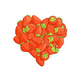 Heart shape by strawberries