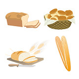 Set of cartoon food, bread
