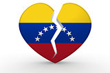 Broken white heart shape with Venezuela flag
