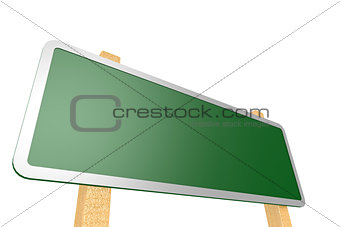 Green road sign with wood stand.