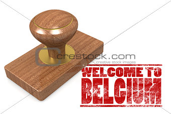 Red rubber stamp with welcome to Belgium