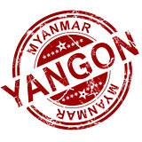 Red Yangon stamp