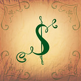 Dollar Symbol in Vintage Style