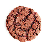 Large chocolate fudge cookie, isolated on a white background. Overhead view