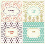 Minimal Background. Retro Mono Line Frames with place for Text. Vector Design Template, Labels, Badges on Seamless Geometric Patterns