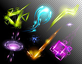 Vector Glowing Light Effect set. Sparkling Efect Design Element Collection. Stars, Planet, Comet, Galaxy, Asteroid isolated on black Background. Illustration
