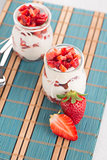 Strawberries desert with cream